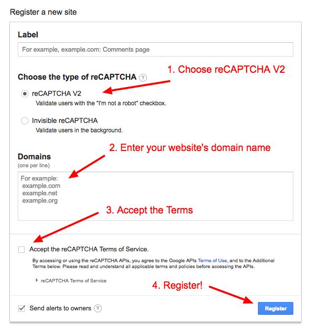 Generate reCAPTCHA keys for WP3D Models