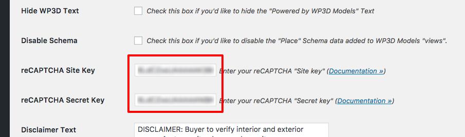 Paste Recaptcha API keys